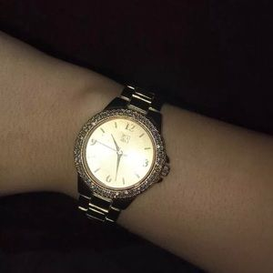 New York & Co Gold Watch With Crystal Glitz